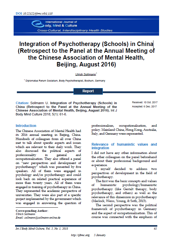 Integration of Psychotherapy Schools in China